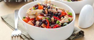 Салат из красной фасоли консервированной с курицей